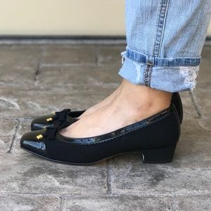 Black Microtouch Bow Low Heel Flats